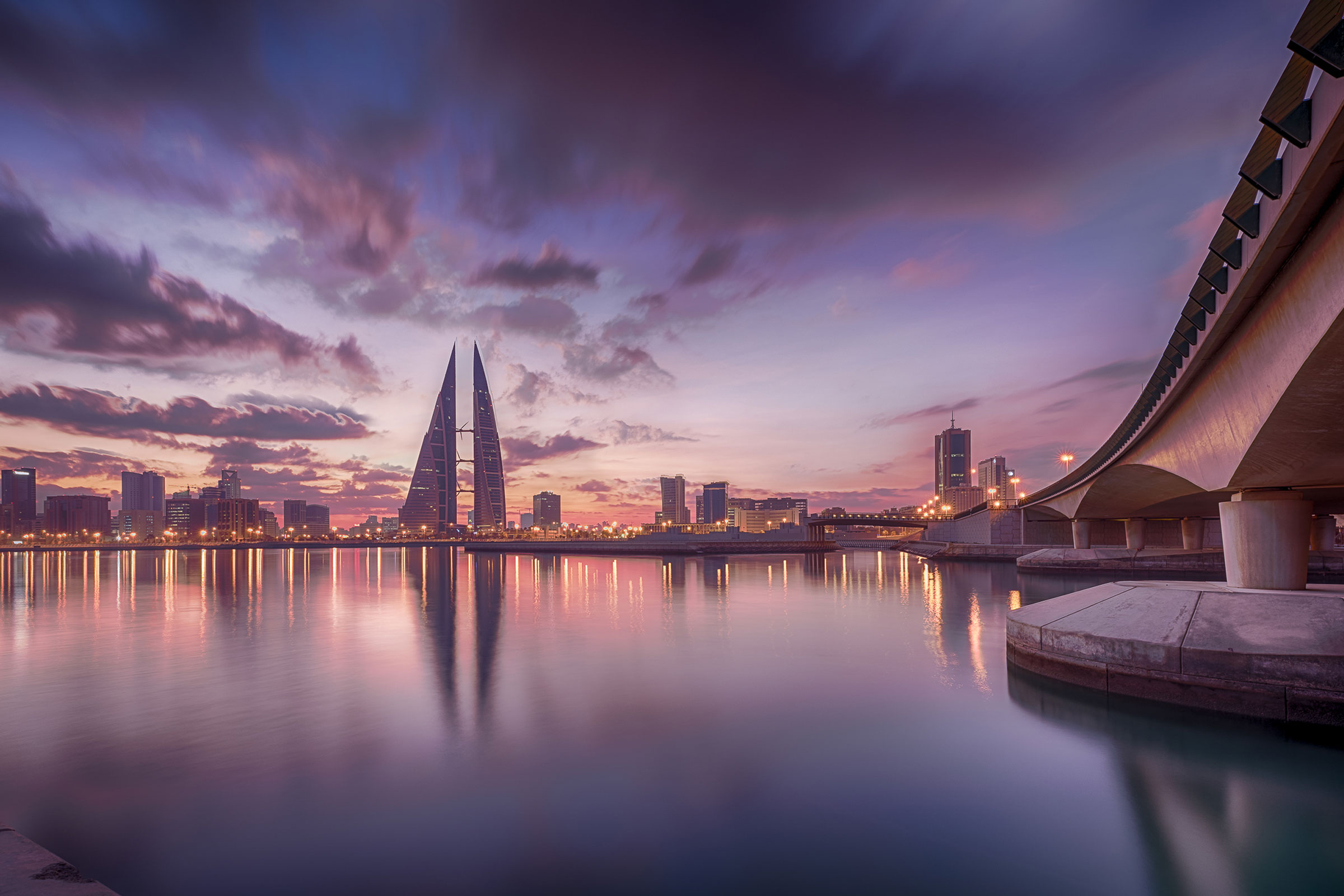 Evening Skyline City Manama, Bahrain