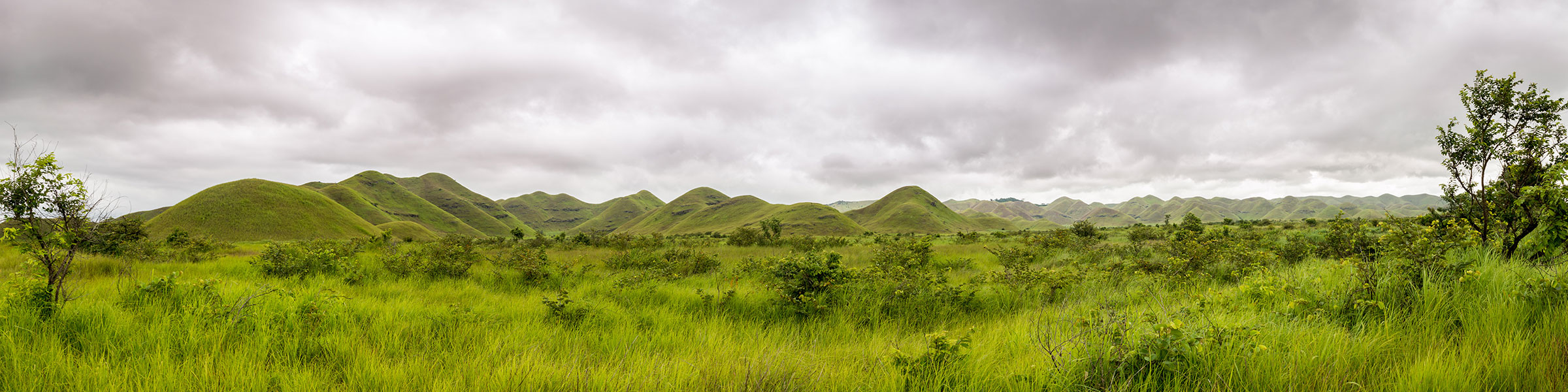 Panorama of African hills in Congo, Mountain of the Moon