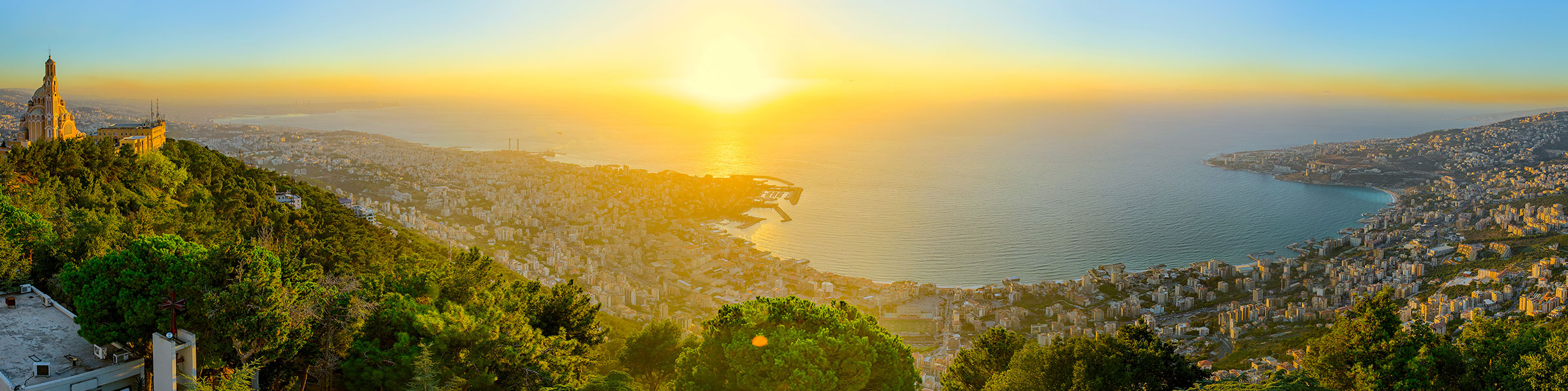 Sunset panorama from Lady of Lebanon monument