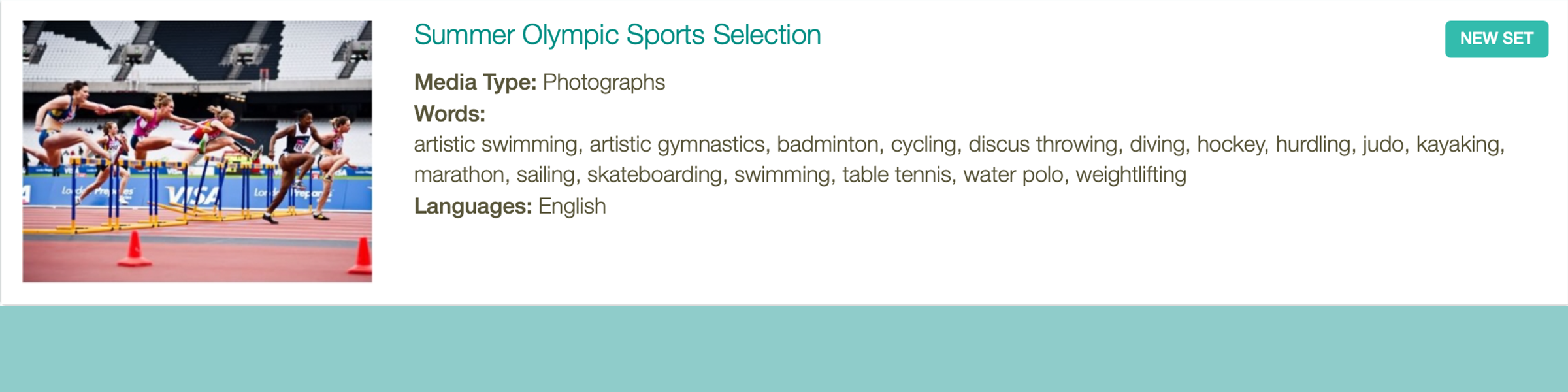 Montessori Classified Cards for Olympic Games