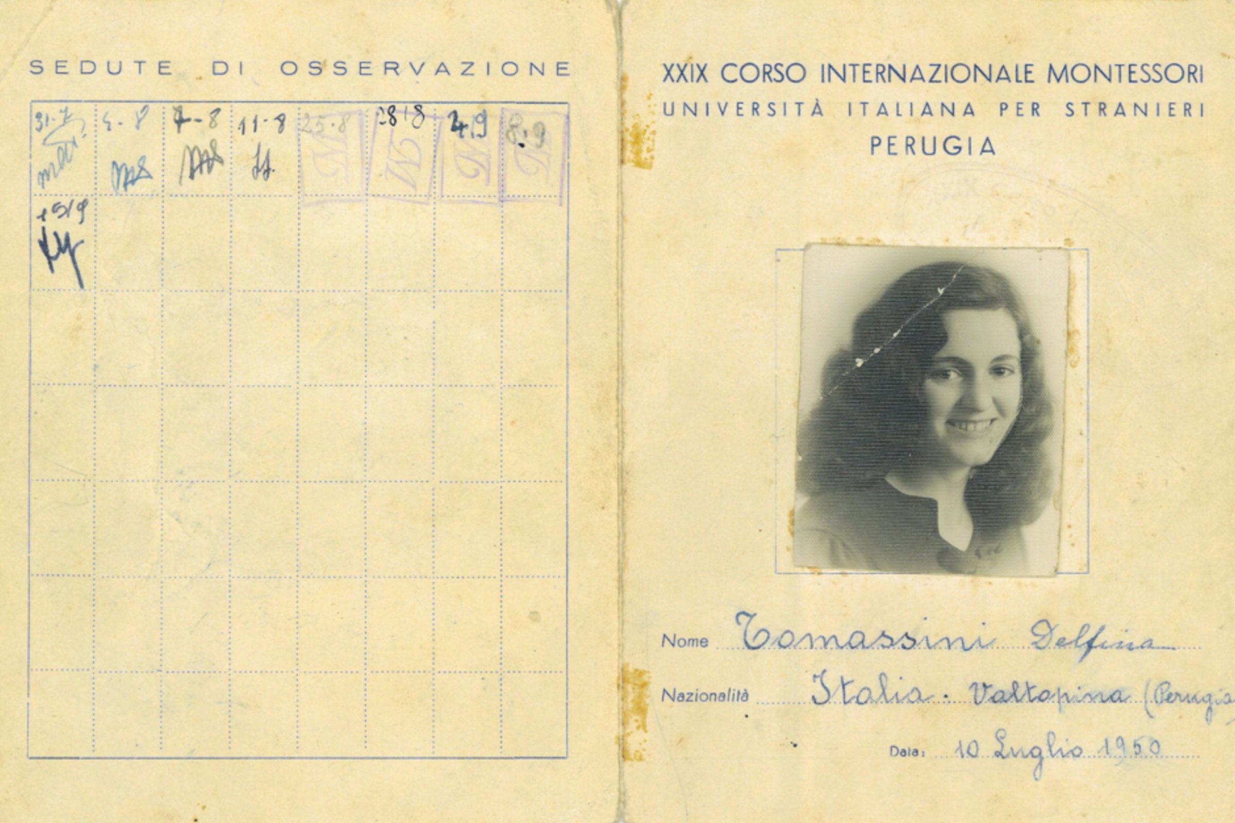 Delfina Tommasini's student card from the 1950 Montessori training course