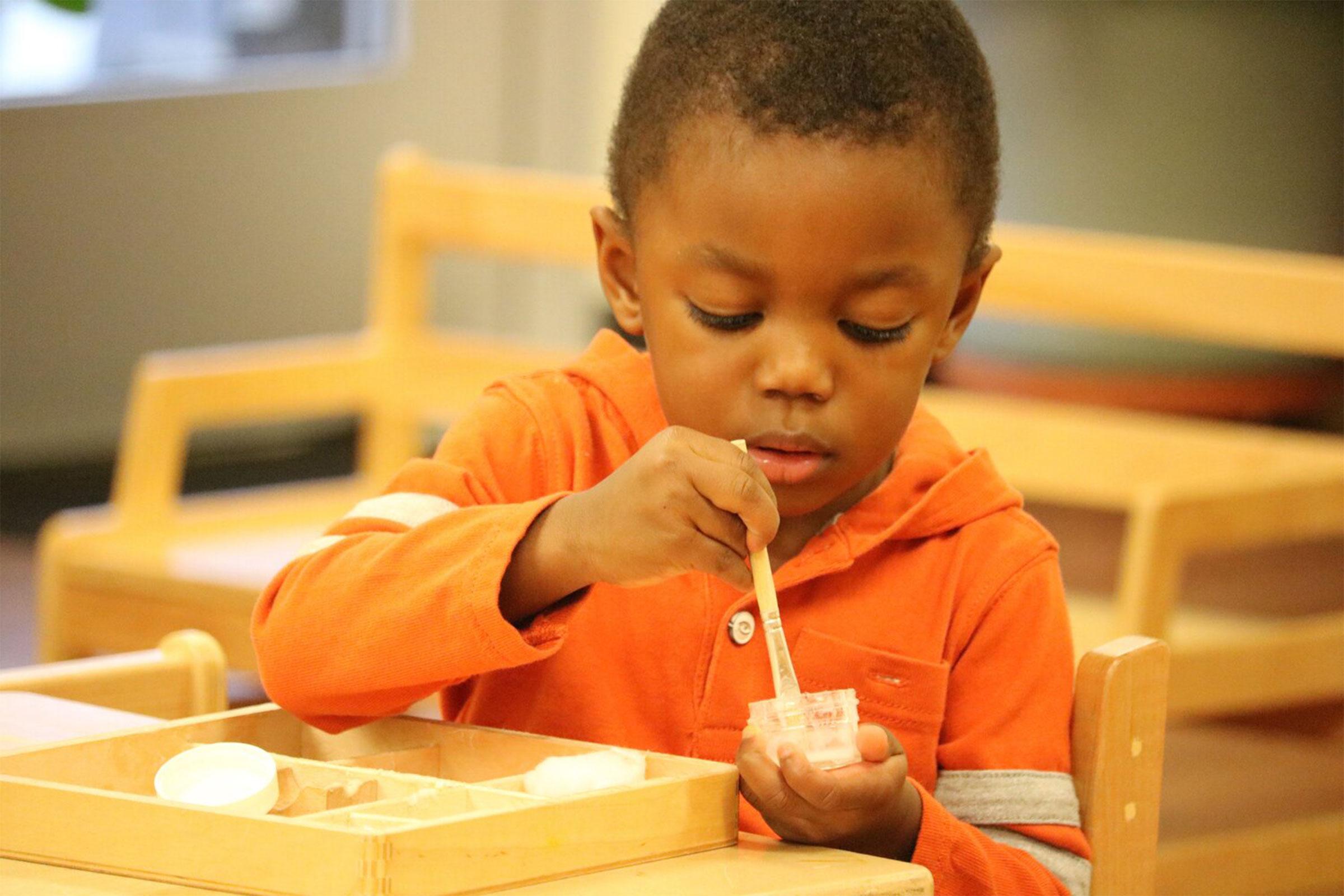 African child in Montessori classroom