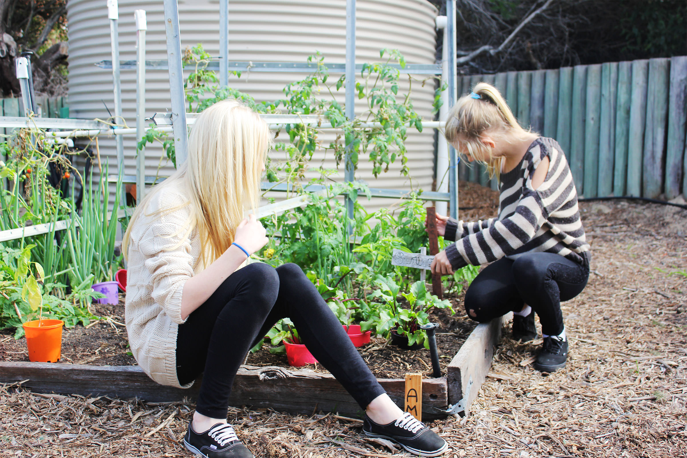 Two adolescents gardening