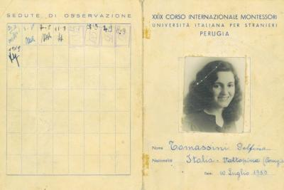 Delfina Tommasini's student card from the 1950 Montessori training course