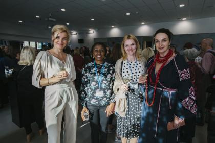 Heads of Affiliates connecting at the reception. From left to right, Lubov Lepkina (Ukraine), Yinka  Awobo Pearse  (Nigeria), Alona Zmitrovich (Latvia), Juliia Timoshevska (Ukraine).