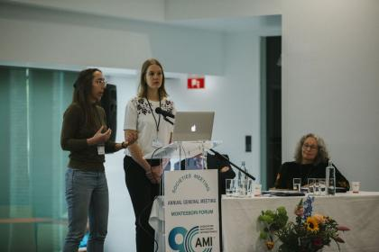 Presentation on Digital Disruption by Henriëtte Hoving from Spark Optimus, with AMI Staff Member Fay Hendriksen (to the right), to explain the development of AMI's Customer Relationship Management system .