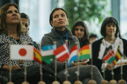Colombian representatives sit in the audience.