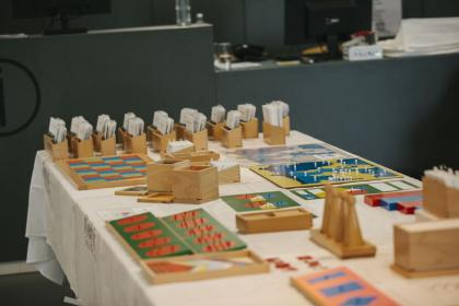Montessori manufacturing companies Nienhuis and Agaworld had a selection of materials on display.
