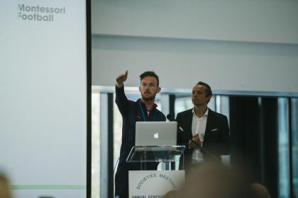 Patrick Oudejans (left) and Ruben Jongkind (right) gave a workshop on Montessori football.